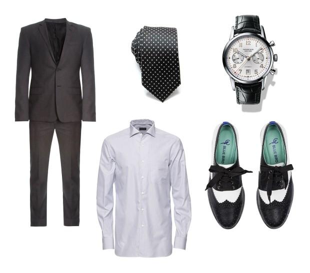 Costume Calvin Klein R$1.290|Camisa Ermenegildo Zegna R$1.295| Gravata Sergio K R$144,00|Relógio Tiffany & Co. R$33.540|Sapato Oxford Blue Bird R$449 (Foto: Divulgação)