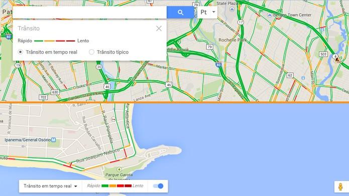 Nova e antiga interface de trânsito no Google Maps (Foto: Reprodução/Barbara Mannara)