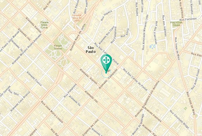 Mapa com marcação (Foto: Reprodução/André Sugai)