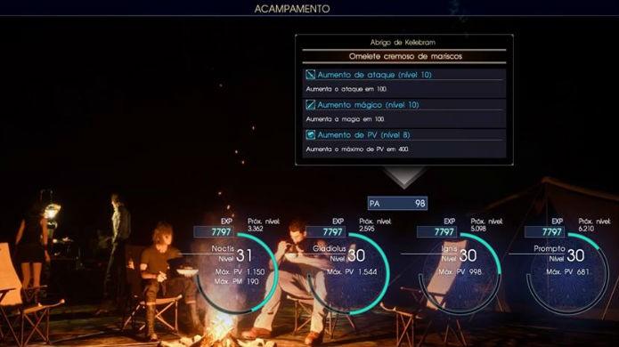 Final Fantasy XV: com o boost ativo, até acampar rende PA rapidamente (Foto: Reprodução / Thomas Schulze)