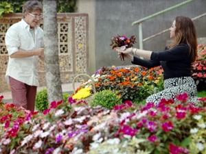 A beata até colhe flores! (Foto: Sangue Bom / TV Globo)