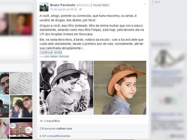 Padrastro fez desabafo em rede social após atropelamento de criança por traficantes em Sorocaba (Foto: Reprodução / Facebook)