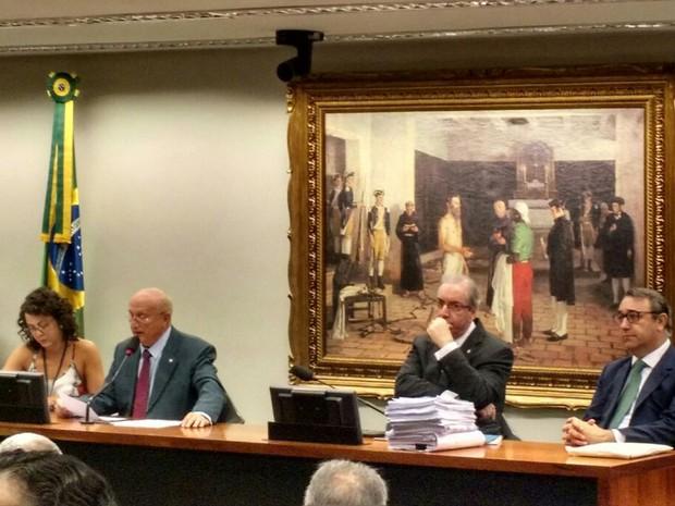Deputado afastado Eduardo Cunha (PMDB-RJ), em sessão da CCJ (Foto: Laís Alegretti/G1)