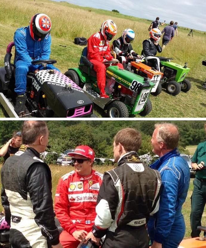 Kimi Raikkonen disputa corrida de cortadores de grama na Inglaterra (Foto: Reprodução/Twitter)