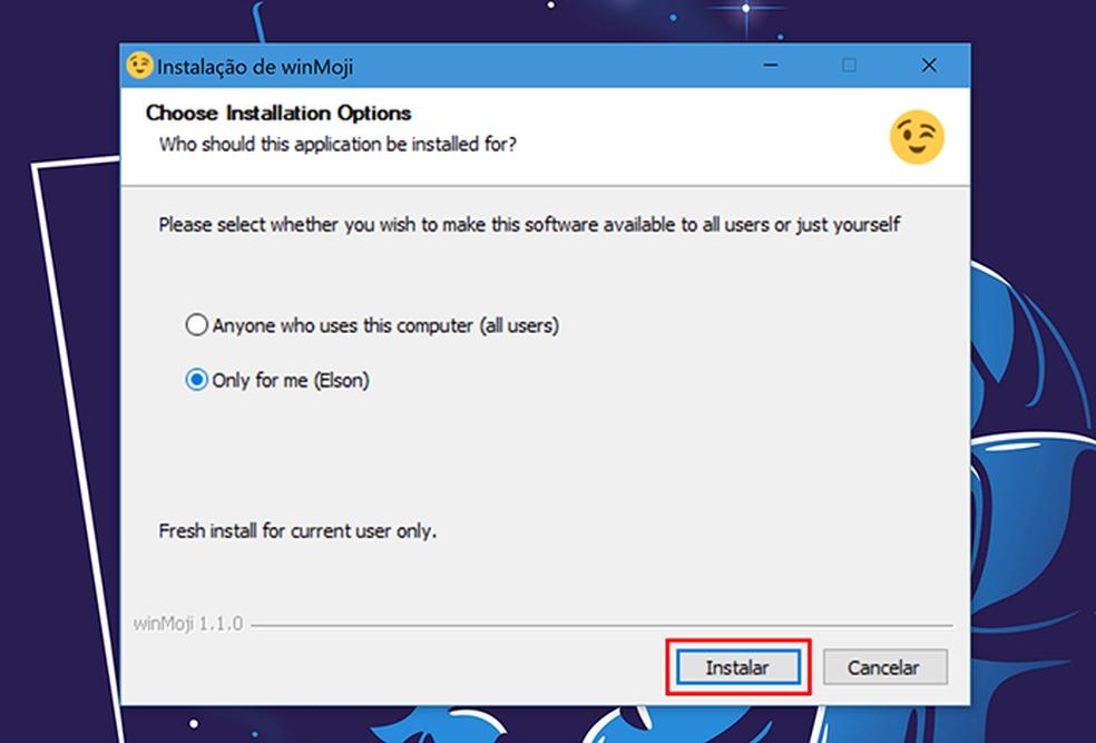 Selecione quais usuários do computador terão acesso ao WinMoji (Foto: Reprodução/Elson de Souza)