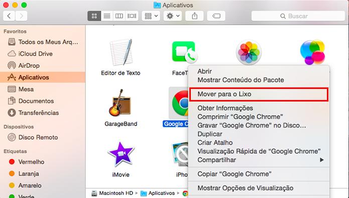 Exclua o Chrome do Mac (Foto: Reprodução/Paulo Alves)