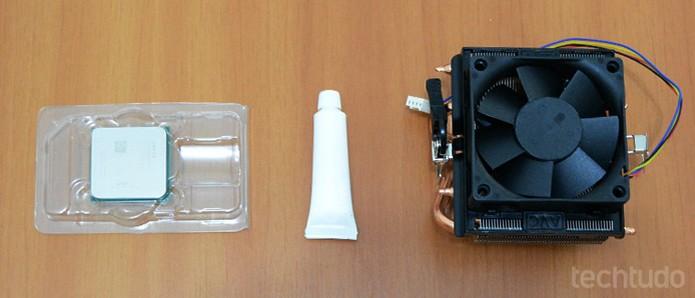 Será necessário, além do processador, um cooler compatível com o modelo da placa-mãe e pasta térmica (Foto: Adriano Hamaguchi/TechTudo)