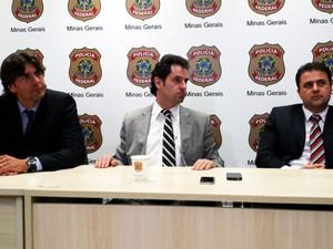 Delegados da Polícia Federal (da esq. para dir.) Felipe Drummond Paulo Henrique Barbosa e Marcilio Zocrato (Foto: Pedro Ângelo/G1)