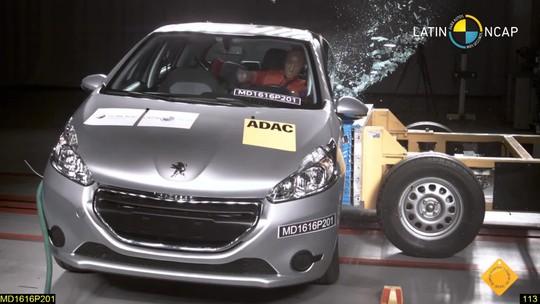 Peugeot 208 perde estrelas em teste de colisão com novos parâmetros