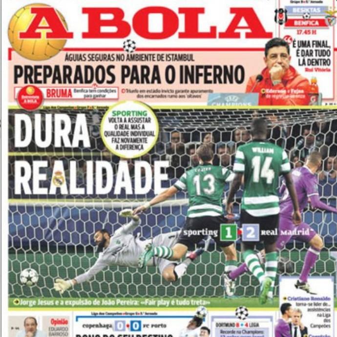 """BLOG: Jornais lusos repercutem eliminação do Sporting para o Real: """"Soco no estômago"""""""