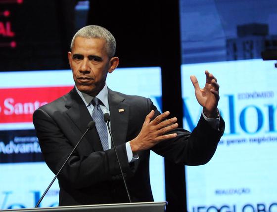 O ex-presidente dos Estados Unidos Barack Obama, duarante participação  no Fórum Cidadão Global (Foto:  Silvia Costanti/Valor / Agência O Globo)