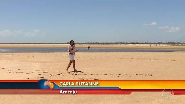 Carla Suzanne faz reportagem para o Bom Dia Brasil (Foto: Divulgação / TV Sergipe)