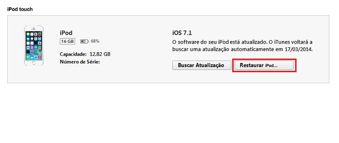 Iniciando a restauração do iPod (Foto: Reprodução/Edivaldo Brito)