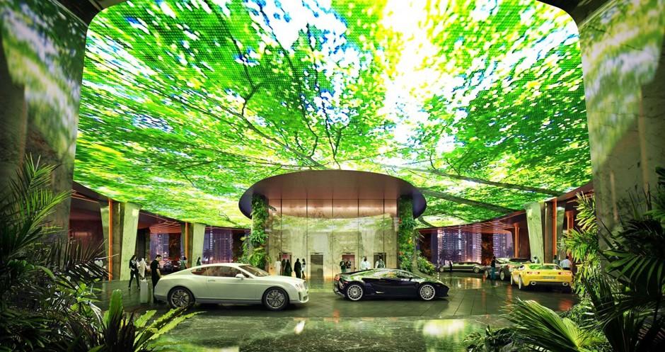 Na entrada do hotel, uma instalação mostrará imagens de vegetação ou vida marinha (Foto: Reprodução/Plompmozes)