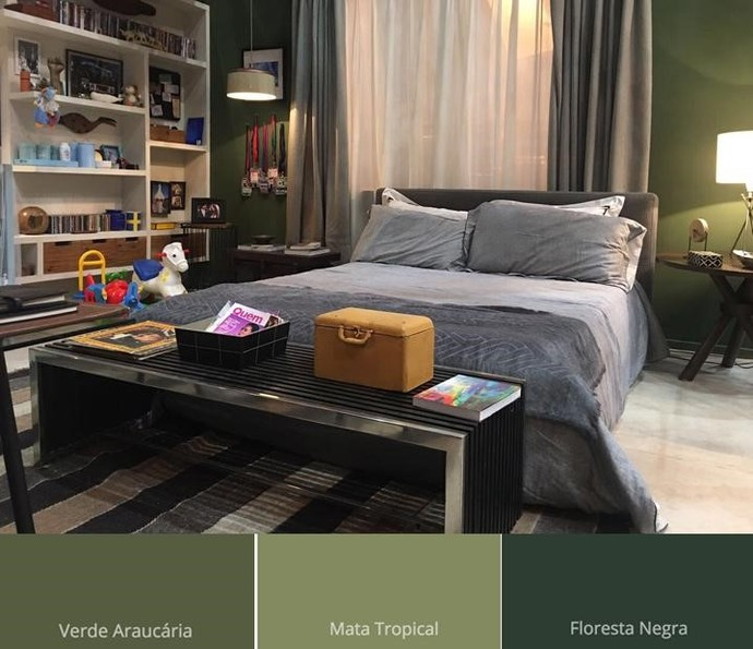 Paredes foram pintadas na cor Verde Araucária do produto Coral Decora (Foto: TV Globo)