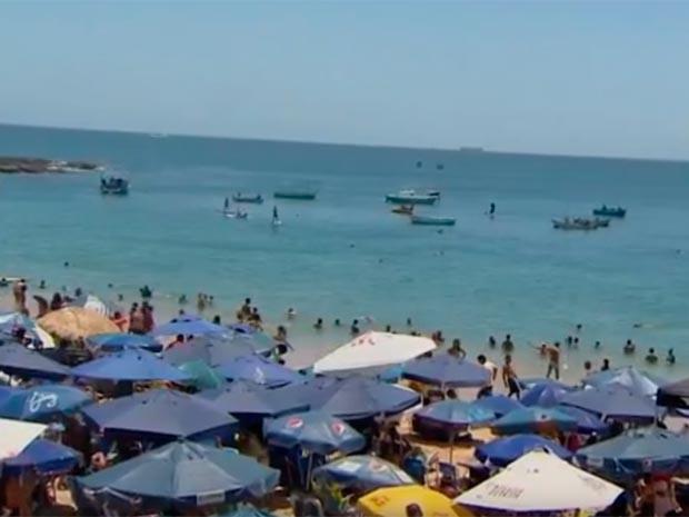 Praia do Porto da Barra, em Salvador (Foto: Reprodução/TV Bahia)