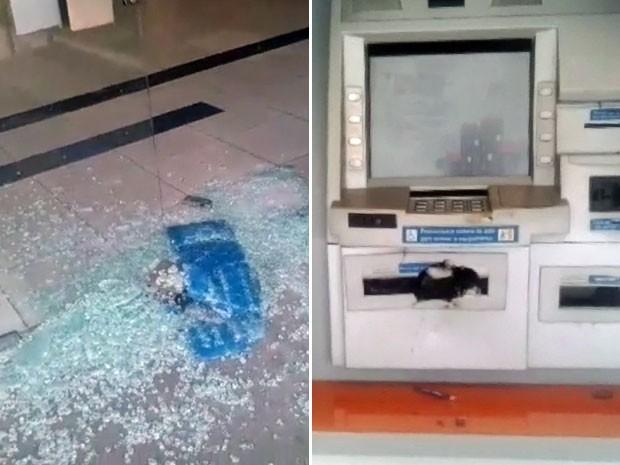 Porta de vidro da agência estava quebrada quando os policiais chegaram. Dois caixas eletrônicos também estavam danificados (Foto: Pedro Lins / TV Globo)