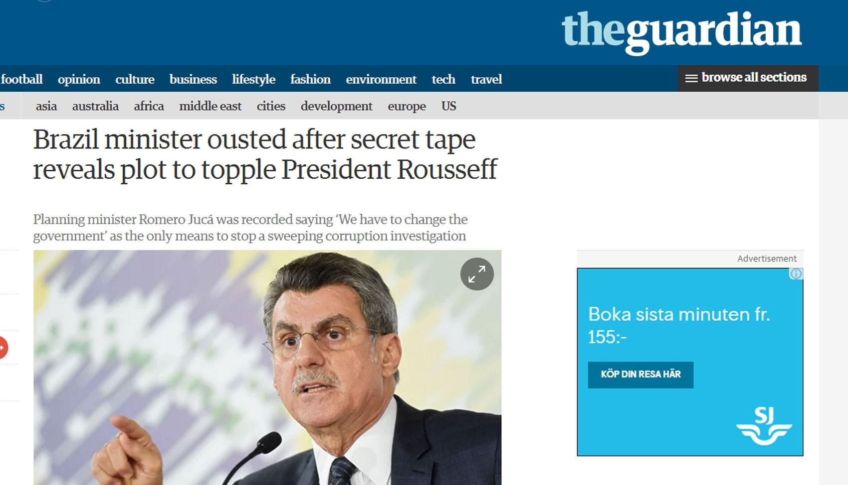 'The Guardian' vê 'plano maquiavélico' de impeachment (Foto: Reprodução/the guardian)