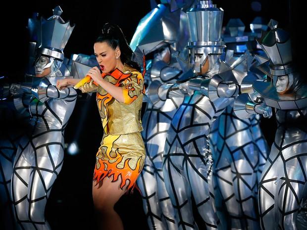 Katy Perry canta no Super Bowl em Glendale, no Arizona, nos Estados Unidos (Foto: Tom Pennington/ AFP)