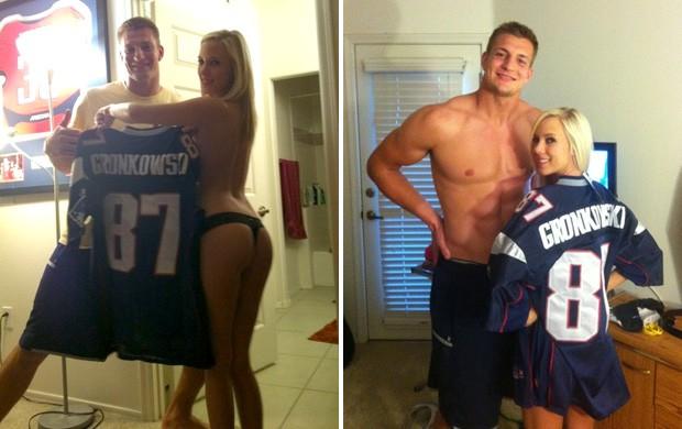 Rob Gronkowski, do New England Patriots, e Bibi Jones (Foto: Reprodução / Twitter)