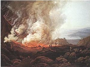"""Pintura de Johan Christian Dahl """"Erupção do Vesúvio"""", de 1826, que retrata a erupção de 79 d.C. (Foto: Wikimedia Commons)"""