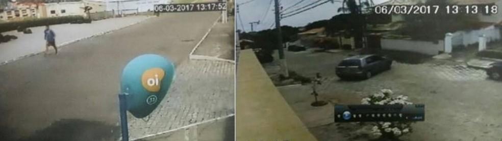 Imagens de câmeras de monitoramento mostram percurso feito por Róbson (imagem 1) e pelo pai (imagem 2) no mesmo dia e horário do desaparecimento da vítima (Foto: Divulgação/Polícia Civil)