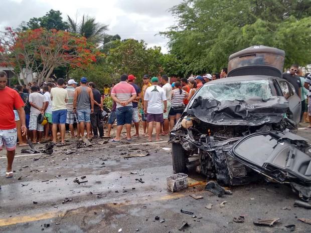 Acidente aconteceu na BR-226 entre Tangará e Serra Caiada (Foto: Francisco Júnior/Inter TV Cabugi)