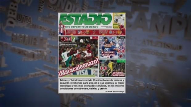 Jornal destaca 'Maracaleonazo' na derrota do Flamengo (Foto: Reprodução SporTV)