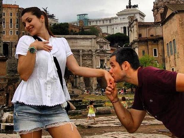 Otaviano e Fla´via fazem graça durante viagem de 2008 (Foto: Arquivo pessoal)