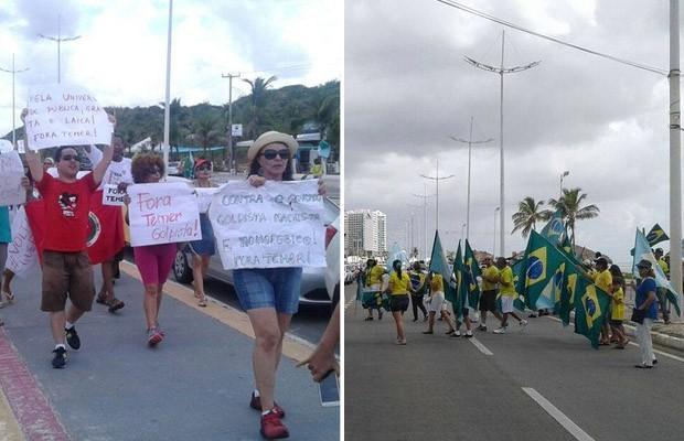 São Luís teve protestos contra Dilma e contra Temer neste domingo (Foto: Alex Barbosa/ TV Mirante e Alex Barbosa/ TV Mirante)