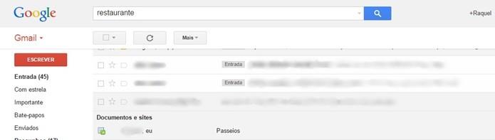 Pesquisa interna do Gmail mostrando resultado do Google Docs (Foto: Reprodução/Raquel Freire)