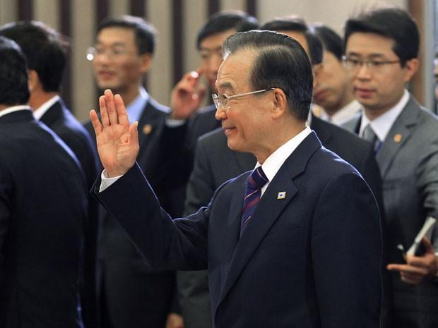 Premiê chinês Wen Jiabao se reúne com líderes europeus em Bruxelas (Foto: Reuters/Yves Herman)