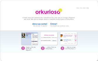 O Curioso, site permitia acessar scraps sem 'dar bandeira' no Orkut (Foto: Reprodução/Curioso)