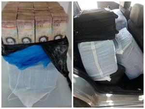 Dinheiro estava escondido em várias sacos e malas (Foto: Polícia Militar/Divulgação)