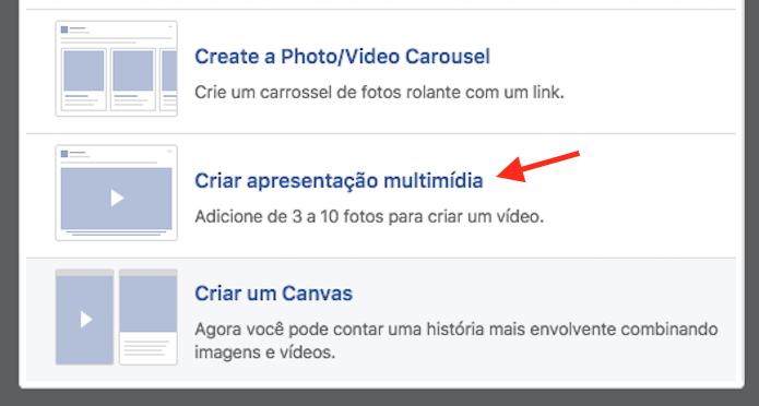 Opção que permite criar um vídeo com fotos para postar em uma página do Facebook (Foto: Reprodução/Marvin Costa)