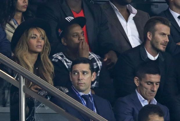 c58e5c82951f80 Beyonce, Jay Z e David Beckham assistem a jogo de futebol entre Paris St  Germain