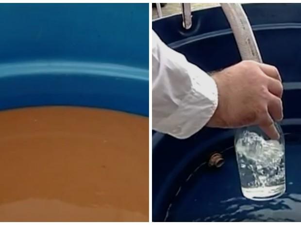 Água barrenta do Rio Doce volta a ser cristalina após passar por máquina (Foto: Reprodução/ TV Gazeta)