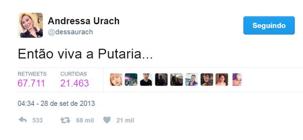 Tweet de Andressa Urach (Foto: Reprodução/Twitter)
