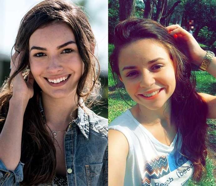 A personagem Luciana e a gaúcha Kimberlin Valério (Foto: Gshow/Kimberlin Valério)