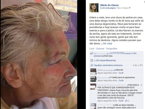 Casa de Isadora foi apedrejada e avó de Isadora foi atingida (Foto: Reprodução/Facebook)