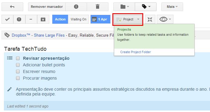 Agrupe vários e-mail e tarefas em Projetos (Foto: Reprodução/Paulo Alves)