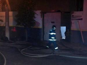 Ação para controlar o fogo se estendeu pela madrugada (Foto: Pedro Mathias/G1)