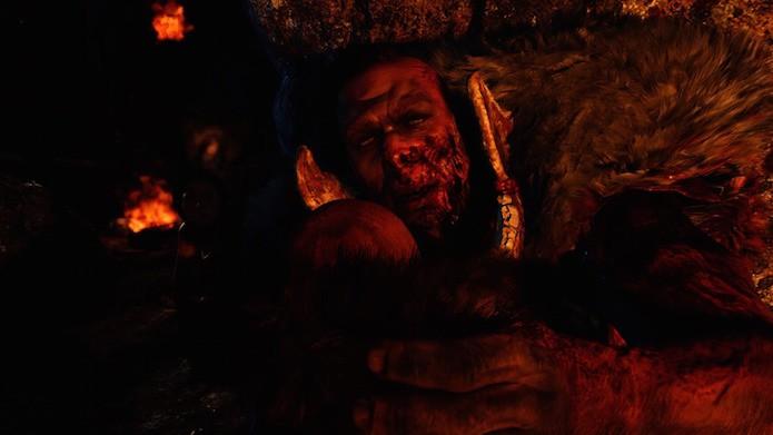 Far Cry Primal: use os fragmentos de gelo do cenário para atordoar o inimigo (Foto: Reprodução/Victor Teixeira)
