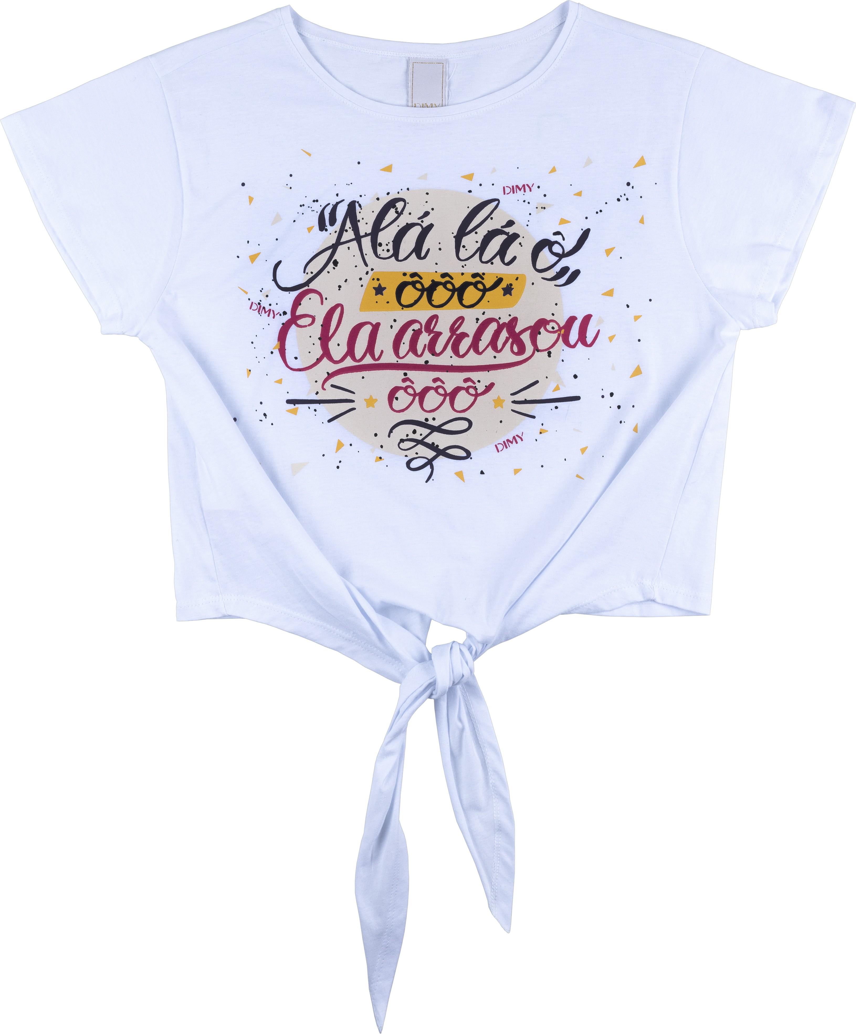 Camiseta de amarrar com escritas de carnaval (Foto: Divulgação / Dimy)