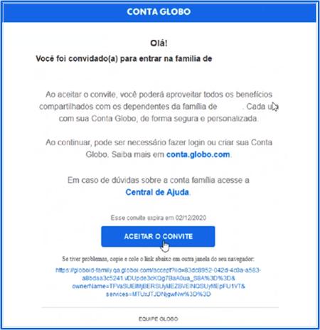 E-mail da Conta Família (Foto: Conta Globo)