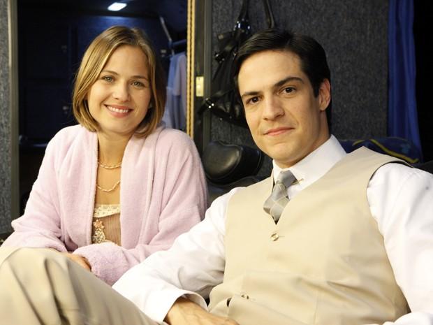 Mateus Solano e Luiza Valdetaro também estiveram nas gravações (Foto: Gabriela / TV Globo)