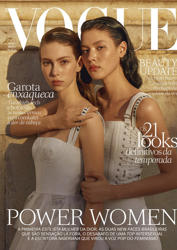 Lorena Maraschi e Angelica Erthal (Way Model) vestem Dior. Foto: Zee Nunes, com edição de moda de Daniel Ueda e beleza de Amanda Schön (Foto: Zee Nunes)