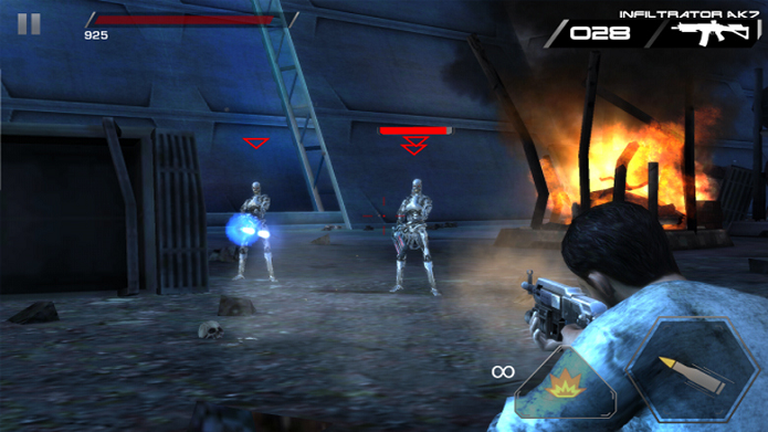 Desenvolvido pela Glu, Terminator Genisys: Revolution é uma ótima adaptação da jogabilidade de Frontline Commando para a série (Foto: Divulgação)