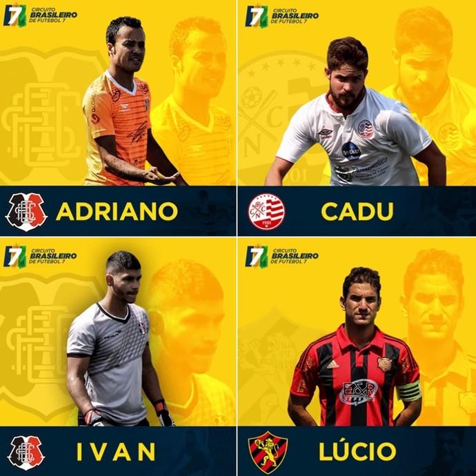 Atletas do Náutico, Sport e Santa Cruz na seleção da primeira fase do Circuiito Brasileiro de Futebol 7 (Foto: divulgação/ Liga F7 Brasil )