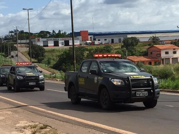 Força Nacional chegou a São Luís no começo da tarde desta terça-feira (Foto: Jéssica Melo )